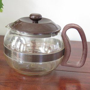 Pyrex France Brown Plastic and Glass Tea Pot, Coffee Pot with Lid
